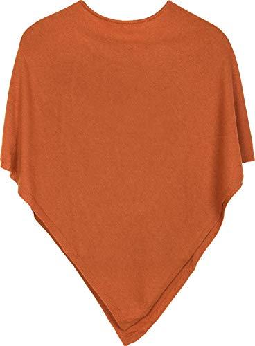 styleBREAKER Damen Feinstrick Poncho in Unifarben, leicht asymmetrischer Schnitt, Ärmellos, Rundhals 08010042, Farbe:Orange