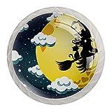 4 Piezas Perilla del Cajón del Gabinete,Mango de un Solo Orificio/Tirador de Puerta de Armario,Decoración del Hogar de Gabinete y Decoración del Hogar,halloween_witch_lulu_flying_silhouette_moon