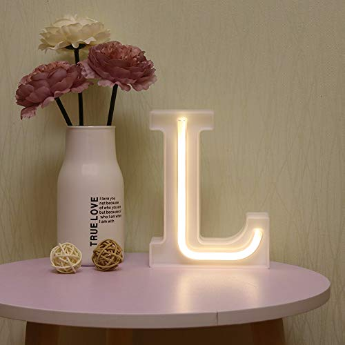 Guocheng, luci a LED neon con lettere dell'alfabeto illuminano la lettera con batteria e alimentazione USB, luci al neon per Natale, matrimonio, casa, feste, decorazione L