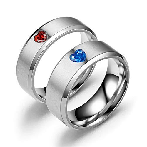 ANAZOZ Anillos de Parejas Acero Inoxidable Plata Redondo con Corazón Circonita Roja Azul Talla Mujer 12 & Hombre 20