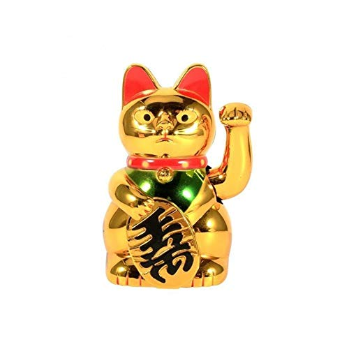Dong 1pcs Chinese Lucky Cat, Wealth Waving Hand Cat, Gold Maneki Neko FengShui Decor, Animal Sculpture Decoration For Shop/Hotel (Color : 6 inches)