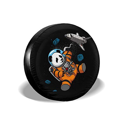 WH-CLA Spare Wheel Cover Panda Bear Astronaut Funny Space Galaxy Cubierta Universal para Llanta De Repuesto 4 Tamaños Protectores De Rueda A Prueba De Agua Cubierta para Llanta De Rueda 17in/80~83cm