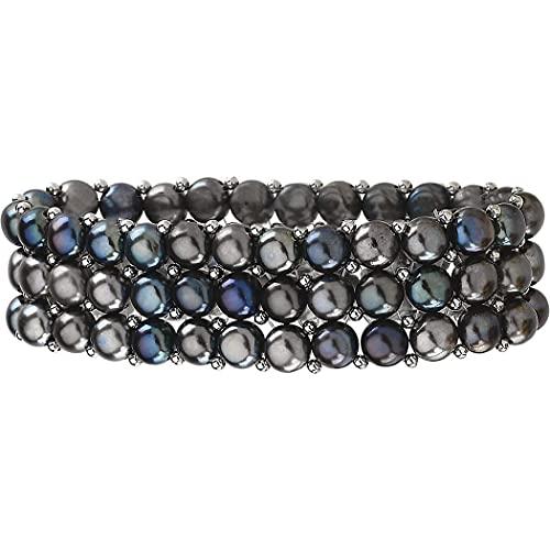 925 plata de ley cultivada en agua dulce perla negra 3 filas estiramiento pulsera joyería regalos para las mujeres