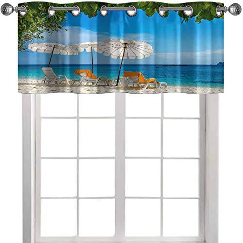 YUAZHOQI Cortina de filtrado de luz Tumbonas y toallas de color naranja bajo paraguas Tailandia 50 pulgadas de ancho x 45 cm de largo ventana Valencia para sala de estar (1 panel)