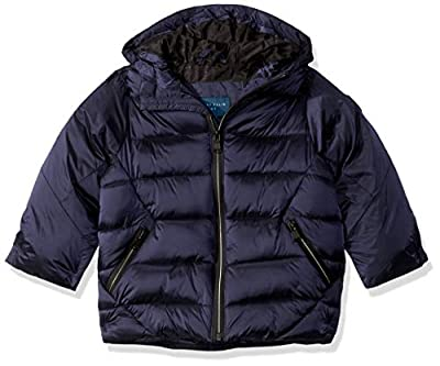 Perry Ellis Boys' Toddler Iridescent Puffer Jacket, Navy, 3T