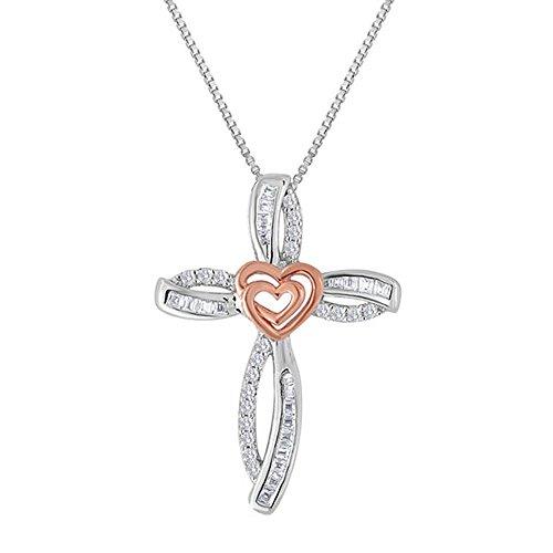 Ani's Collar de cadena de 45,7 cm chapado en oro de dos tonos con cruz y corazón de 1/4 quilates
