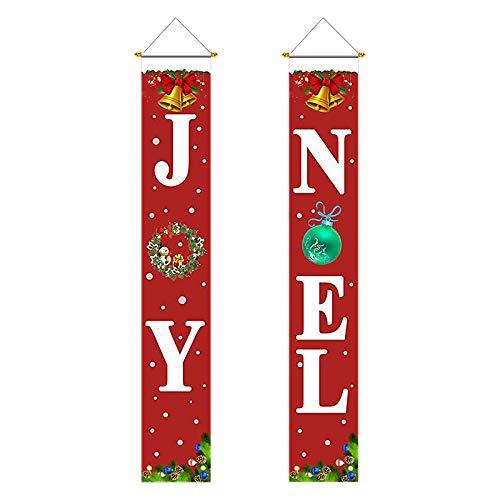 KATOOM Weihnachten Noel Banner Weihnachtsdeko Amerikanisch Joy Weihnachtsgirlande Merry Christmas Girlande Hängend Veranda Schild für Wand Tür Garten Indoor Outdoor Deko