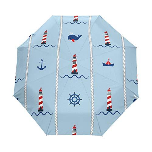 QMIN Paraguas plegable automático de los faros de los barcos de papel, anclajes de ballenas, resistentes al viento, protección UV, paraguas compacto para la lluvia, para mujeres, hombres y niñas