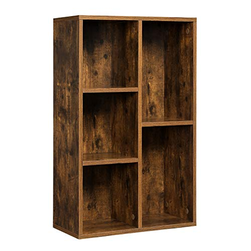VASAGLE Estantería para Libros con 5 Compartimientos, Estantería de Archivo, Estantería de Pie, 50 x 24 x 80 cm, Marrón Rústico LBC025X01