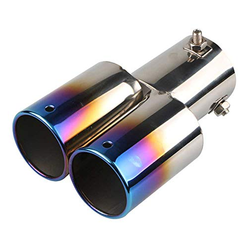 MPOQZI Interfaz 63mm Salida única/Doble Salida Universal Punta de Escape de Coche Acero Inoxidable silenciador automático Tubo de Cola Accesorios de Coche