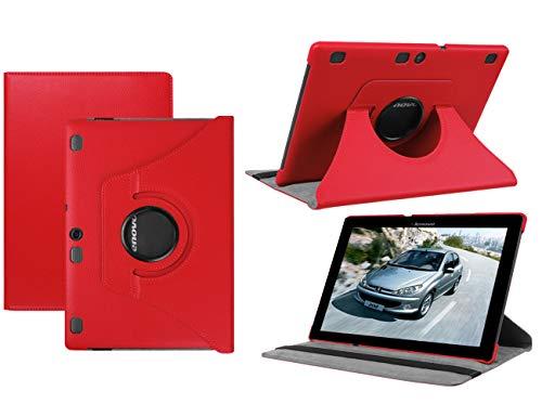 HereMore Lenovo Tab 2 A10-30 / Tab 2 A10-70 Funda, Giratoria 360 Grados Cubierta de Cuero Case Protectora para Lenovo Tab10 (TB-X103F) / Tab 3 10 Plus/Tab 3 10 Business 10.1' Tablet, Rojo