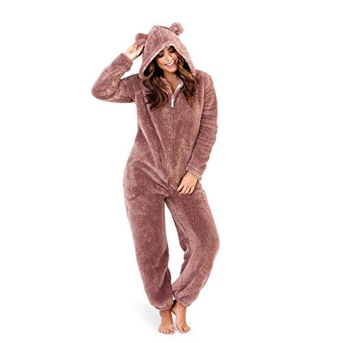 Pijama de una pieza para mujer, con forro polar suave Rosa Brown/Taupe Snuggle Cosy Bear 48/50 ES (X-Large)
