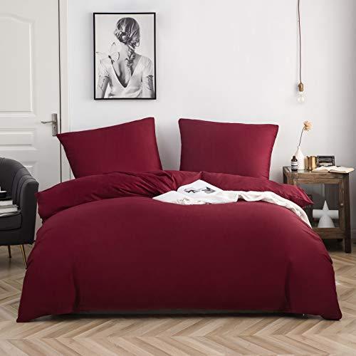 AYSW Baumwolle Bettwäsche 200x220 cm Burgunderrot 3er Set 1 Bettbezug mit 2 Kopfkissenbezug 80x80 cm