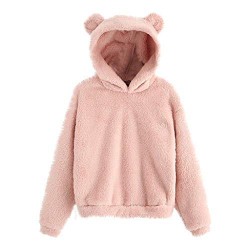 TOPKEAL Damen Langarm Doppelseitiger Samt Oberteile Bärenohren Langarmshirt mit Kapuze T-Shirt Sweatshirt Hoodie Pullover (Rosa, S)