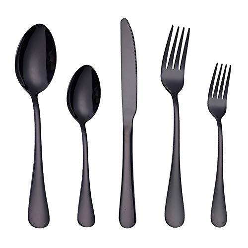 Black Silverware Set, 40-Piece Stainless Steel Flatware Set For 8, Dishwasher Safe Cutlery Set, Mirror Finish, Titanium Plating Technology, Nice Gift Box Package