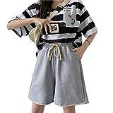 Pantalones Cortos Casuales para Mujer Cintura elástica con cordón Color sólido Tamaño Grande Salvaje Pantalones Sueltos Casuales Pantalones Cortos de Cinco Puntos