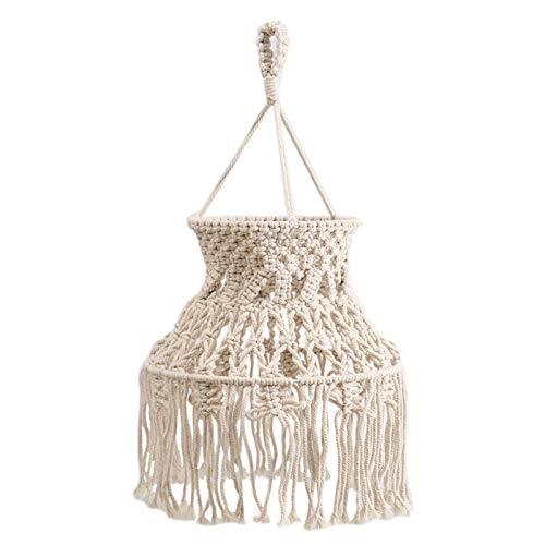 xianghaoshun Pantallas de lámpara, Pantalla de macramé con Cuerda de algodón Colgante de luz de Techo Pantalla de Tela con borlas, Pantalla de luz Colgante Color Crema Moderna