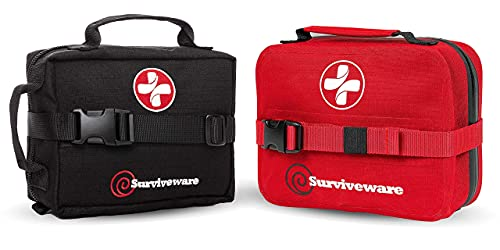 Surviveware Waterproof First Aid Kit and Surviveware Survival First Aid Kit Bundle, Black