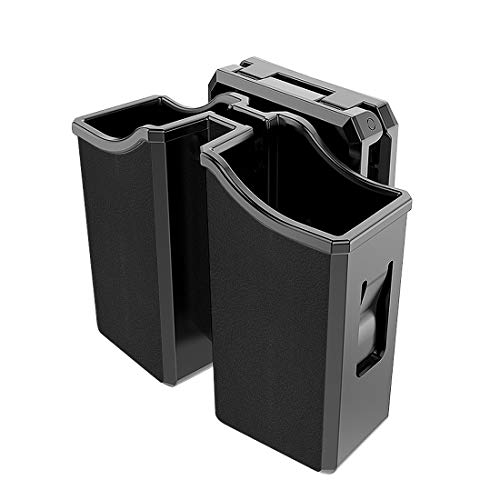 Universal Magazine Holder, Double Magazine Holster for 9mm/.40/.45 Double Stack Magazines, Beretta Browning CZ Glock H&K Kel-Tec Ruger Sig Sauer S&W Taurus Mag Holders, Adjustable Belt-Clip Mag Pouch