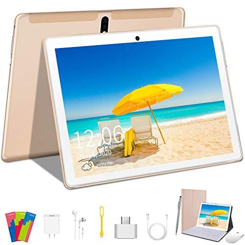 Tablet 10 Zoll 4G LTE Dual-SIM 2 in1 Tablet mit Tastatur 4 GB RAM + 64 GB ROM, 128 GB erneuerbares, Quad-Core, Android 9.0, GMS-Zertifizierung, OTG, 8000 mAh Akku, WiFi / GPS / Bluetooth Tablet PC