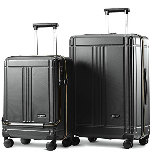 Nishore Cabin Luggage with Front Laptop Pocket Hard Suitcase ABS 4 Wheels with TSA Lock