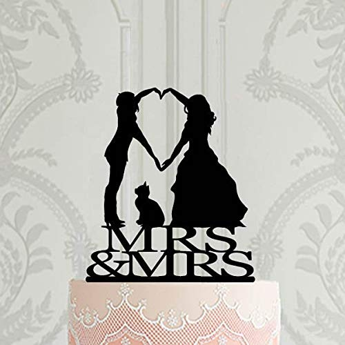 Decoración para tarta de boda lesbiana con gato Mrs and Mrs Cake Decoración LGBT Boda Decoración LGBT
