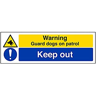 """VSafety Signs 67140AX-S""""Warning Guard Dogs On Patrol/Keep Out"""" Warning Building Sign, Self Adhesive, Landscape, 300 mm x 100 mm, Black/Blue/Yellow:Hashflur"""
