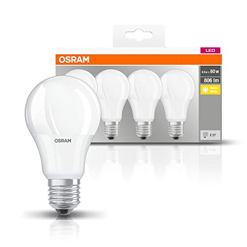 Osram Lámpara LED clásica con base en forma de bombilla, plástico, blanco cálido, E27, 8.5W, juego de 4
