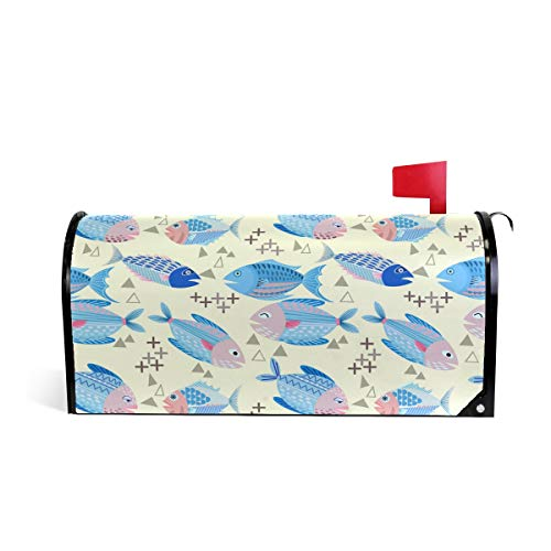 Linomo Magnetischer Briefkasten-Überzug, nautische Fische, niedliche Briefkasten, Briefkasten-Abdeckung, für Haus, Garten, Hof, Außendekoration, für übergroße Größe 63,5 x 53,3 cm