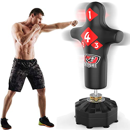 Senshi Japan 6ft Free Standing Rex Leather Torso Punch Bag - Perfect For Training & Practice - EXTREMELY EASY TO ASSEMBLE - Gel Mit Gloves And Skipping Rope Bundle