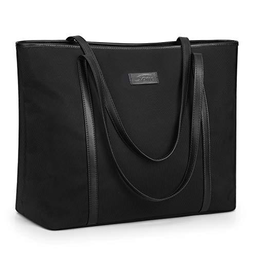 S-ZONE Damen Handtasche 15,6 Inch Laptoptasche Schultertasche Große Nylon Arbeit Shopper Reise Umhängetasche mit Rückseitiger Reißverschlusstasche