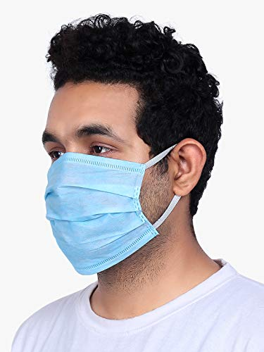 GRITSTONES 3 Ply Non Woven Anti Pollution Surgical Face Mask (Blue) -...