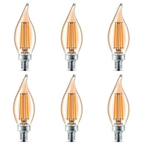 Philips LED Classic Glass Amber BA11 Dimmable Light Bulb: 2700-Kelvin, 4-Watt (40-Watt Equivalent), E12 Base, Soft White, 6-Pack