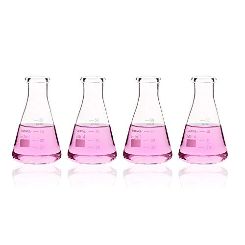 Labvida 4pcs of Narrow Mouth Glass Erlenmeyer Flasks, Vol.50ml, 3.3 Borocilicate with Printed Graduation, LVC001