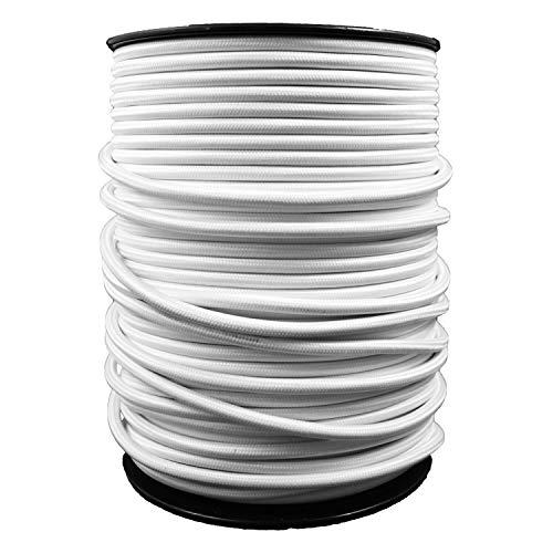 smartect Lampenkabel aus Textil in der Farbe Weiß - 5 Meter Textilkabel - 3-Adrig (3 x 0.75mm²) - Textilummanteltes Stromkabel für DIY Projekt