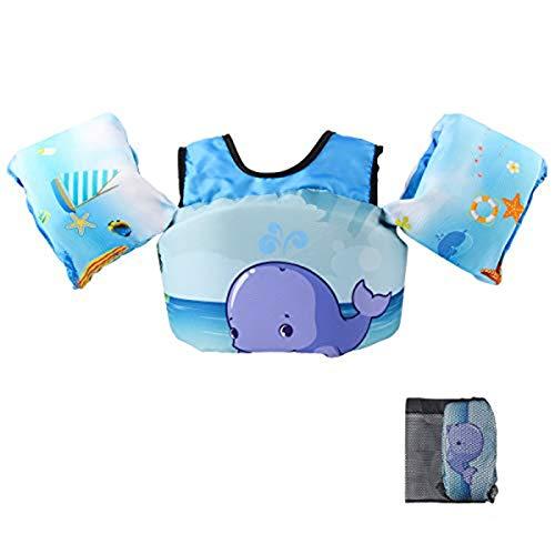 VIEKUU Schwimmflügel Schwimmwesten mit Schultergurt für Kinder von 2-6 Jahre 15-25kg Schwimmweste für Kleinkinder Schwimmen zu Lernen Schwimmhilfe für Jungen und M?dchen,(Blau Wal)
