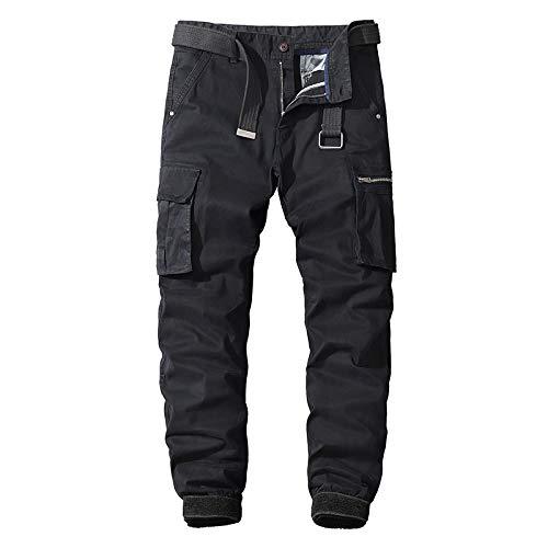 Pantalones cargo con costura para hombre, multibolsillos, para exteriores, entrenamiento informal, para correr, con pies en forma de viga, pantalones de moda con botón y tapeta con cremallera 40