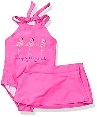 Tommy Bahama Toddler Girls' 1-Piece Swimsuit and Sarong, Flamingo Fuchsia, 4T