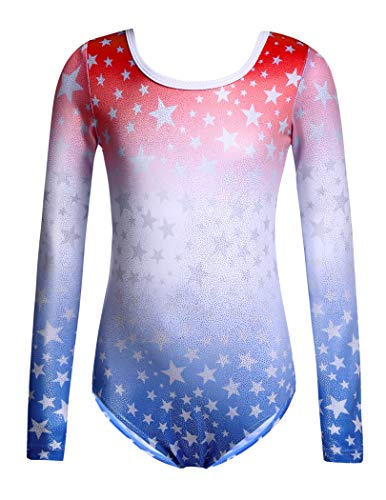 Zaclotre Girls Sparkling Stars Print Gymnastic Leotards Long Sleeve for Kids Patriotic Red and Blue Size 9-10
