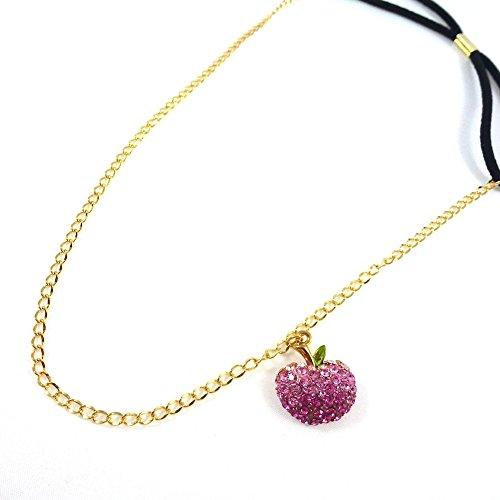 rougecaramel - Accessoires cheveux - Headband/bandeau/serre tête métal fantaisie avec pendant pomme en strass rose