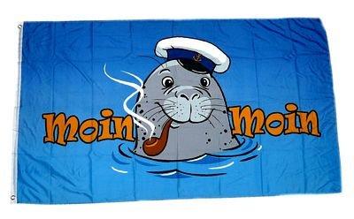 Fahne / Flagge Seehund Moin Moin Pfeife NEU 90 x 150 cm