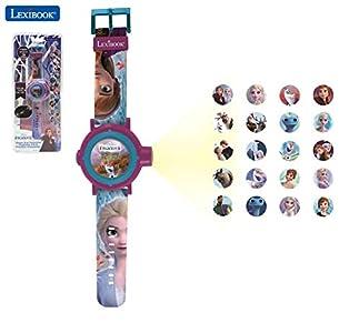 LEXIBOOK- Frozen 2 Reloj Correa Ajustable Pantalla Digital con 20 proyecciones de Elsa, Anna y Olaf Niñas-Azul y Morado