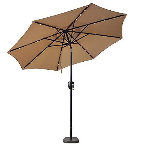 Sun-Ray 811040 9' Round Bluetooth Speaker 8-Rib Solar Umbrella, 24 LED Lights, Crank and Tilt, Aluminum Frame, Taupe/Beige