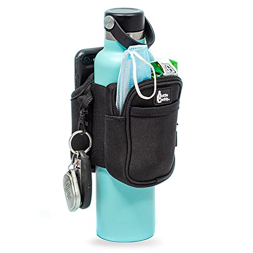 Bottle Caddy Gym Water Bottle Pouch Sleeve with Zipper Side Storage Pockets for Cards, Keys, Phone, or Wallet for Reusable Water Bottles, Medium Size (20-32 Oz Bottles)