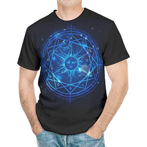 Camiseta de manga corta para hombre, diseo de mandala con sol fractal y luna, constelacin de estrellas, astrologa, estampado, moderno disfraz blanco L