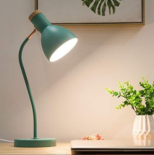 Einfache Nordische Verstellbare Tischlampe, Knopfartige Augenschutz-Schreibtischlampe, Schwarz/Weiß/Rosa/Blau Dekorationsleuchte, Schlafzimmer-Leselampe (Color : Green)