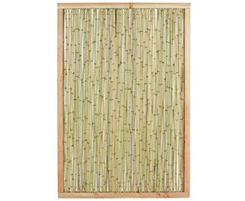 Bambuszaun KOH Samui 180x120cm Bambusrohre Ø 1,8-2cm mit Hellen Rahmen - Bambuswand Trennwand Sichtschutz Sichtschutzwände Bambuszäune