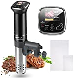 Sous-Vide Cooker Precise Immersion-Circulator IPX7-Waterproof - LCD Accurate Temperature Control Color Display Includes 10 Vacuum Sealer Bags