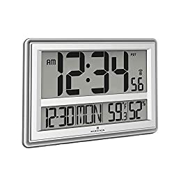 Marathon Jumbo Atomic Wall Clock with Large Display, Date, Indoor Temperature and Humidity - Batteries Included - CL030056SV (Silver)