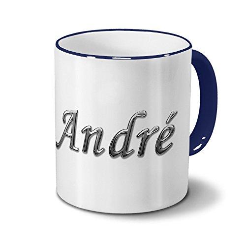 Tasse mit Namen André - Motiv Chrom-Schriftzug - Namenstasse, Kaffeebecher, Mug, Becher, Kaffeetasse - Farbe Blau